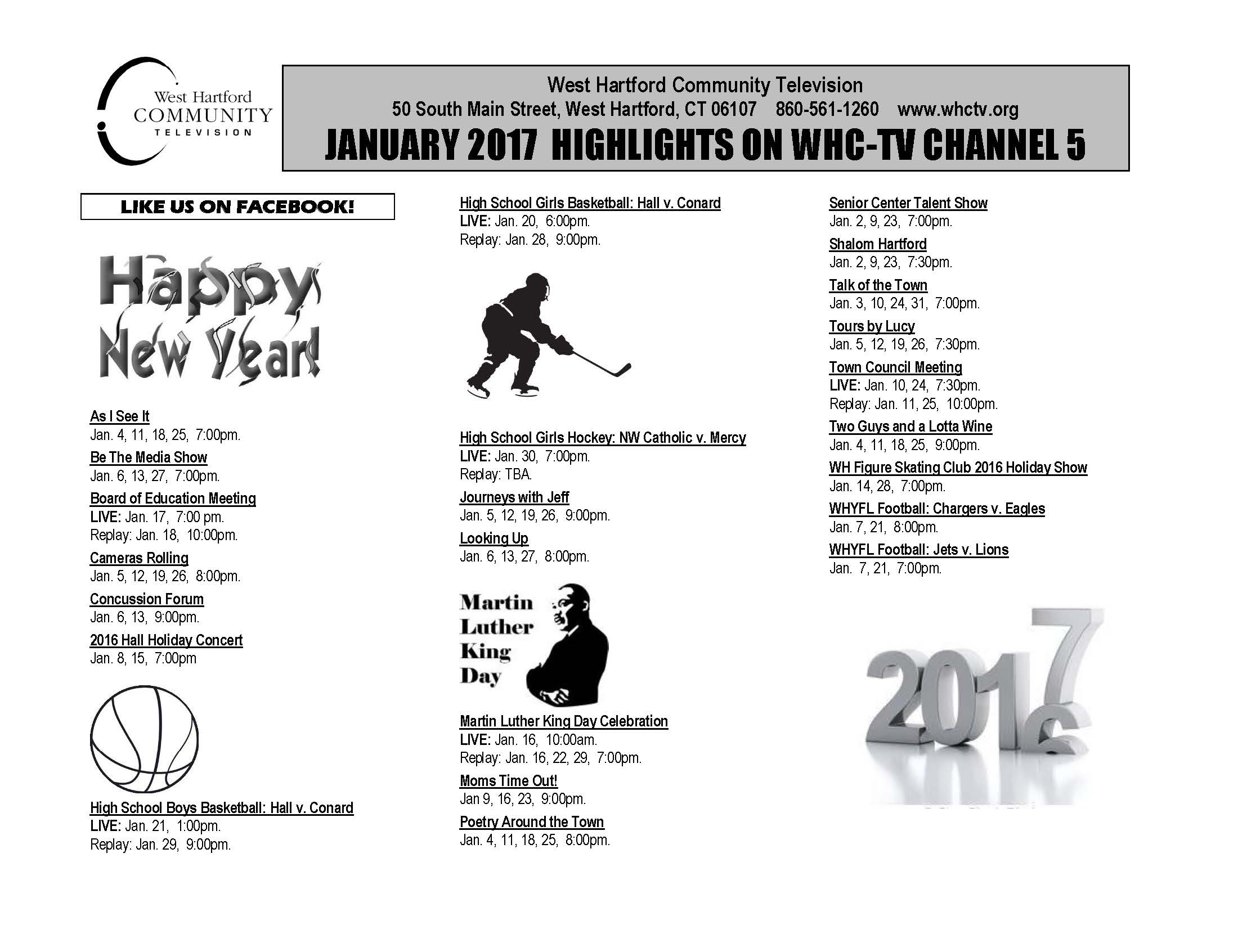 January 2017 Schedule