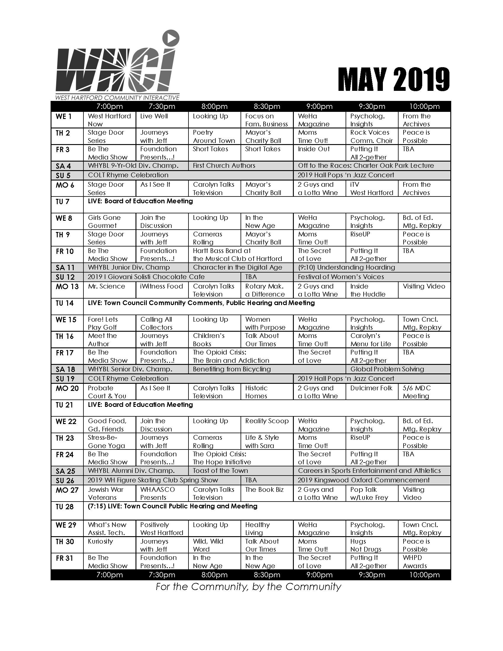 WHCi | May 2019 Schedule